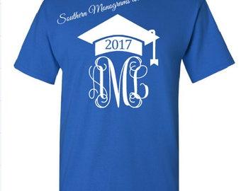 Monogram Graduation TShirt/Class of 2017 Shirt/Class of 2018 Shirt/Graduation Cap T-Shirt/Monogrammed Grad Gift