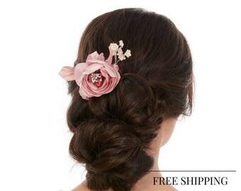 Floral Hair Pin - Flower Hair Pin - Bridal Hair Pin - Floral Hair Pin - Romantic Hair Pin - Pink Hair Pin - Silk Flowers Hair Pin