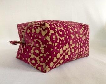 Deep Berry and Beige Batik Box Pouch