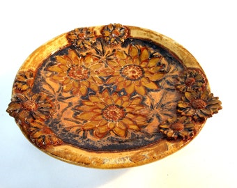 Ceramic Plate Tray - Daisy Daisies Flowers - Brown, Gold, and Cobalt Blue