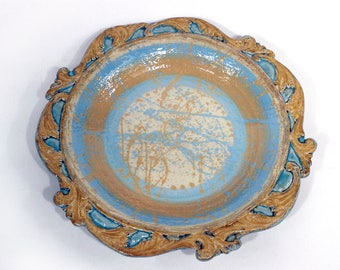 Ceramic Platter Plate - Blue, Brown, and Cream Platter with Scrolled Border