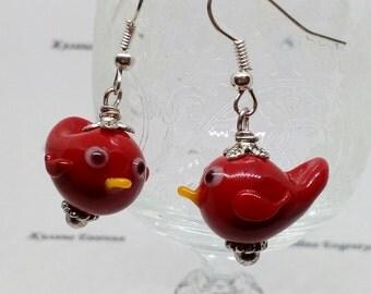 Earrings red bird, lampwork murano glass handmade venetian jewelry, gift for girl or woman