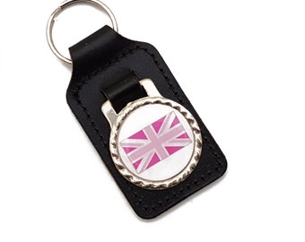 Pink Union Jack, Black Leather Keyfob