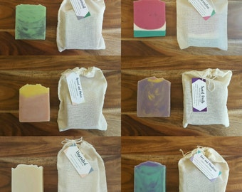 SIX HANDMADE SOAPS, Handmade soap, Cold process soap, Vegan Friendly Soap, Australian Made Soaps
