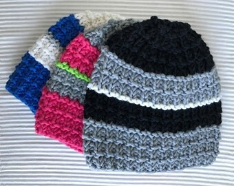 Beanie Hat pink Grau Schwarz red orange Moss stitch knitted (variants)