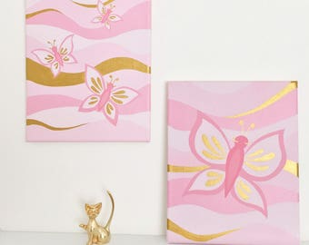 Pink and Gold Decor - Butterfly Painting - Baby Girl Nursery Decor - Nursery Artwork - Baby Shower Gift - Girl's Wall Art - Girls Room Decor