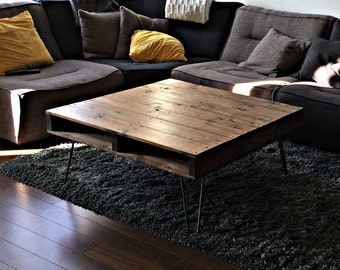 Pallet Style Coffee Table. Rustic Coffee Table, Pallet Coffee Table,  Hairpin Leg Table