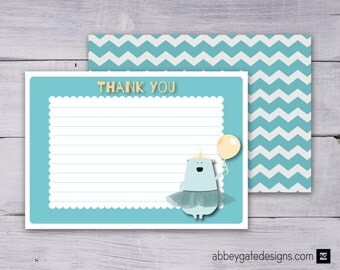 Bear Thank You Card, Bear Thank You Note, Printable Thank You Note, Printable Thank You Card, Blue Thank You, Princess Bear Instant Download