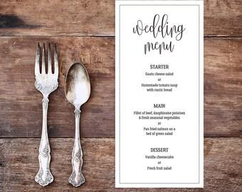 Printable wedding menu/ Editable Menu/ PDF/ Download/ Custom/ Elizabeth suite #049-07