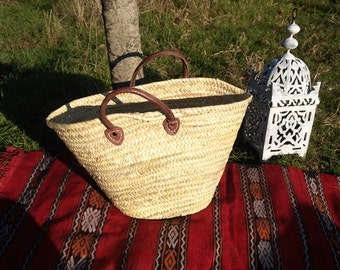 Basket souk in Palm fronds - wicker basket - handmade basket-