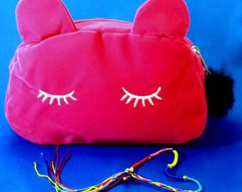 SUMMER SALE:  Hot Pink Velvet Sleepy Kitty Make Up Bag/Small Purse
