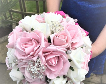 Bridal brooch bouquet,Pink brooch bouquet,Pink rose bouquet,Hot pink bouquet,Brooch bouquet pink,Rose bouquet with brooches