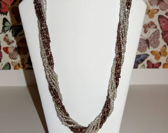 Silver & Brown Seed Bead Necklace - Multi-strand - Torsade