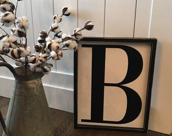 "18"" x 14"" framed letter sign"