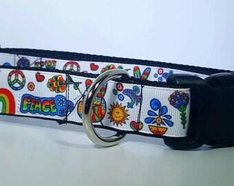 Peace print dog collar large