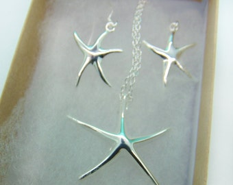 Starfish pendant set- Big Silver starfish Necklace and earrings- large sterling silver starfish, large sterling silver starfish earrings