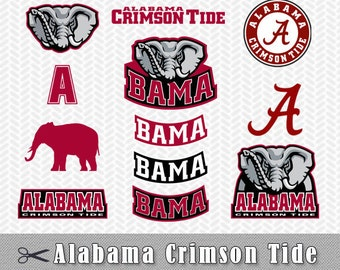 SVG DXF University Alabama Crimson Tide Logos Сlip Art Layered Vector Files Silhouette Studio Cameo Cricut Design Stencil Vinyl Decal Tshirt