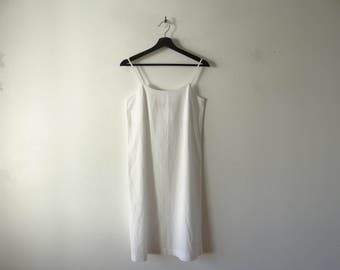 Comme des Garcons minimalist, white cotton slip A-line dress. Made in Japan