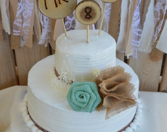 Rustic Cake Topper, Wedding Cake Topper, Burlap Cake Topper, Wood Cake Topper, Mr. & Mrs. Cake Topper, Rustic Wedding, Burlap Wedding