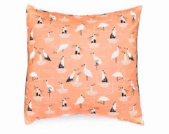 Decorative pillow, Bird print cushion cover, mustard colour print fabric, multicoloured, throw pillow, , home decor, cushion, pillow