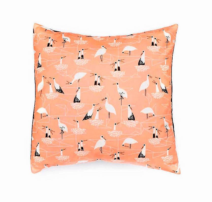 Decorative pillow Bird print cushion cover mustard colour