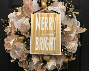 Merry and Bright, Christmas wreath, holiday wreath, gold holiday wreath, holiday decor, christmas decor