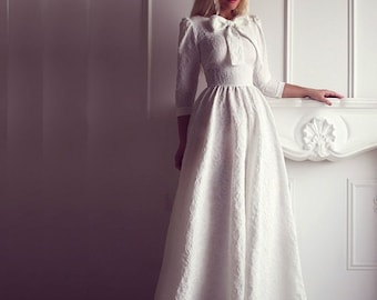 Jersey round collar sleeve maxi dress, Evening long dress with bow, Floor length evening smart dress, Elegant Wedding Bridesmaid Dress
