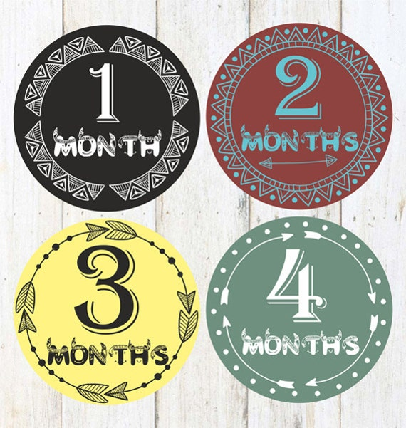 Baby Monthly Stickers- 1-12,Baby Boy,Shower Gift,Photo Prop,Baby month stickers,Boy month stickers