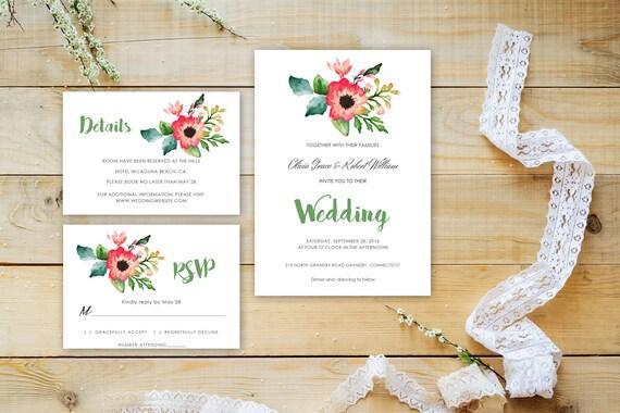 Floral wedding invite word_60,INSTANT DOWNLOAD, Editable Wedding template invitation. Microsoft Word template.Wedding Printable
