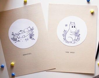 Moomin - original art - ink illustration - Moomintroll and Snork Maiden