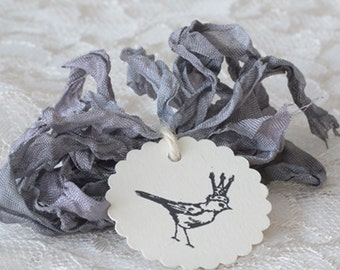 Hand-dyed Crinkle Ribbon 2 yards Soft Gray Silver Spoon Shabby Chic Ribbon Supplies for Scrapbooking Journals Gift Tags