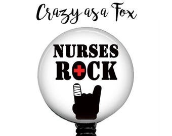 Nurses Rock Retractable Badge Holder, Nurse Badge Reel. ID Badge Holder,  Nurse Badge Reel