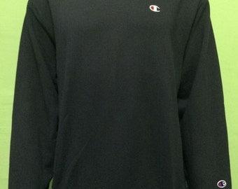 90'S CHAMPION plain sweater black color small logo size L