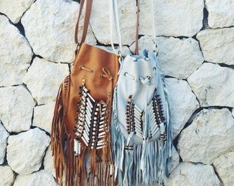 Leather Bohemian Style Beaded Fringe Bag in White