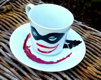 Harley Quinn and Joker hand painted ceramic tea cup and saucer