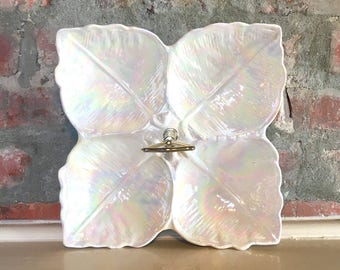 USA Pottery Iridescent Divided Serving Tray // Iridescent Leaf Divided Serving // 1970's