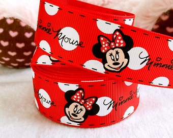 """4 yards 1"""" Mickey Minnie mouse grosgrain ribbon Red Minnie ribbon Minnie hair bow ribbon scrapbooking ribbon Red ribbon Minnie bow ribbon"""