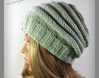 Slouchy Beehive knit hat - pastel green ribbed knit hat - womens hat - slouchy hat - gift for her