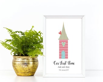 New Home Print, Personalised Home Print, A4, Personalised Our First Home Print, New Home Gift, New Home Present, First Home Print