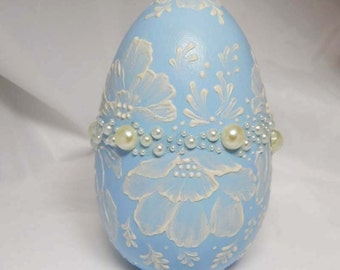 Hand Painted Egg. Hand Painted Wooden Egg. Decorative Egg. Hand Painted Wood Egg. Mud Texture Medium.