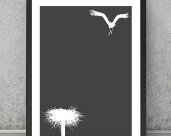 Stork print Stork poster, Stork art Stork wall decor, Bird print Bird poster, Bird wall art Minimalist print Minimalist poster