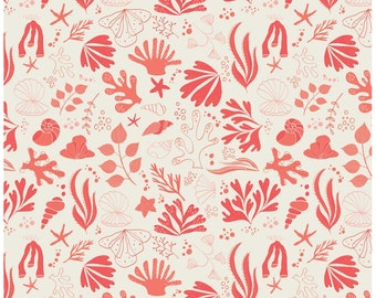 Under the Sea Cream & Coral Fabric by Camelot