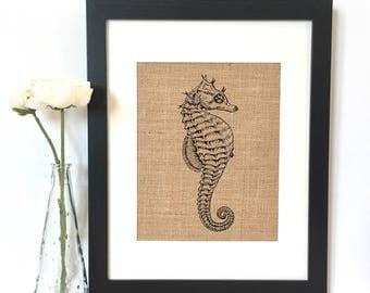 Sea Horse Burlap Print // Rustic Home Decor // Nautical Decor // Ocean Sea Decor // Beach House Decor