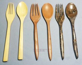 Handmade Wooden Thai Cutlery Spoons & Forks Palmwood Afzelia Xylocarpa Tembusu