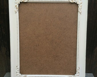 8x10, Lace White, Vintage Style Picture Frame, Distressed, French Country, Ornate, Baroque, Wedding, Nursery, Home, Wall Decor, Shabby Chic