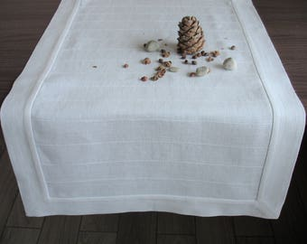 White Linen Runner, White Table Runner, Natural Linen Table Runner, Home  Decor,