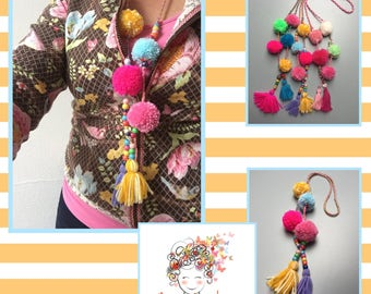 Boho necklace with pompoms - ibiza ketting met pompons 3