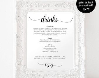 Signature Drinks Sign - Signature Cocktails - Drinks Menu Signature - DIY Wedding Bar Menu Sign - Downloadable wedding #WDH812246