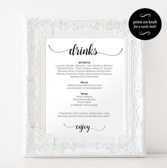 DIY Wedding Bar Menu Sign