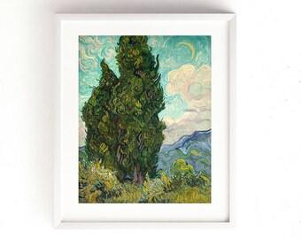 Van Gogh // Cypresses Painting // Glicee Print //